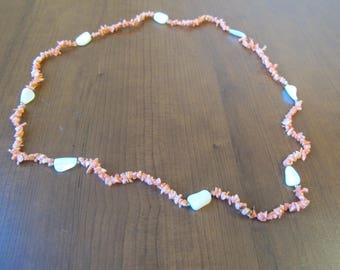 Coral and Opalescent Necklace
