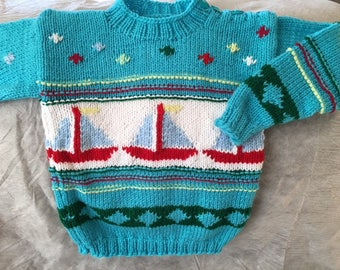 Blue Knit Sweater with Sailboats