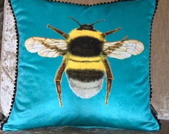 Velvet Turquoise Bumblebee Cushione