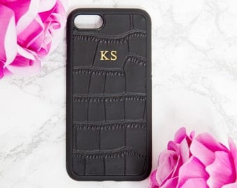 iphone 7 case personalised leather, iphone 8 case Black Croc, Customised embossed phone cover, monogrammed hard shell iphone accessories