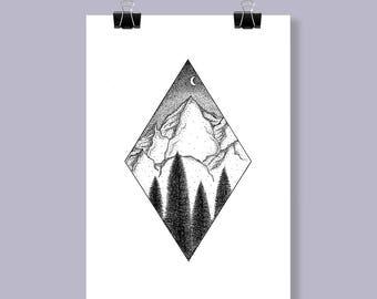 Mountain view dotwork scene - A4 Art Print