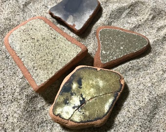 Sea Pottery Set * Beach Pottery * Olive Green and Black Pieces Sea Washed Terracotta * Vintage Room Decoration Set * Beach Apartment Therapy