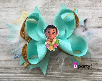 Moana Hair Bow, Baby Moana Hair Bow, Moana Headband, Moana Hair Clip, Moana Hairbow, Moana Headpiece, Moana Birthday Outfit