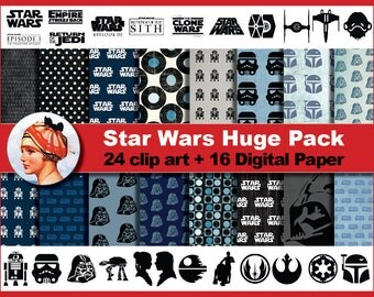Star Wars package - Digital paper and clip art, Scrapbooking Paper, Instant Download