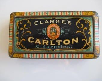 Clarke's Carlton Cigarette Tin (50/empty) by W.M.Clarke & Son c.1900