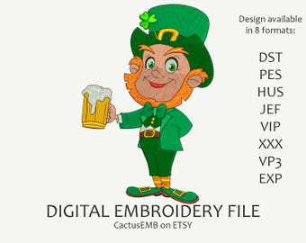 INSTANT DOWNLOAD - Leprechaun embroidery design. Pot of Gold. Saint Patrick's Day. Embroidery design