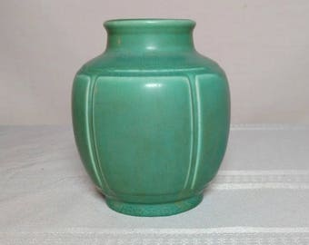 Rookwood Pottery, Arts & Crafts Design, Paneled Green Squat Shoulder Vase~~~