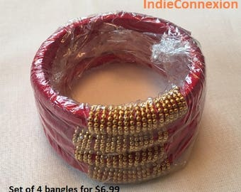 Ethnic Indian Jewelry Bangle Bracelet. These bangles are hand crafted with silk thread and beads.