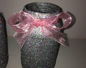 Silver glitter mason jar