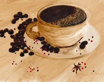 Morning's Best Friend - Original Coffee Painting, coffee art