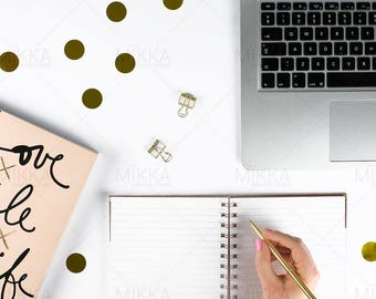 Rose Gold Workspace Collection | Flat Lay Photo | Stationery | Styled Stock Photography | Pink | MacBook
