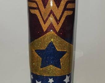 Wonder Woman Tumbler/ Personalized/Custom Glitter Tumbler / Glitter Tumbler / Custom Tumbler / Personalized Glitter Tumbler