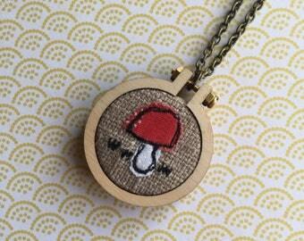 Toadstool mini hoop neckace or brooch, freehand machine embroidery