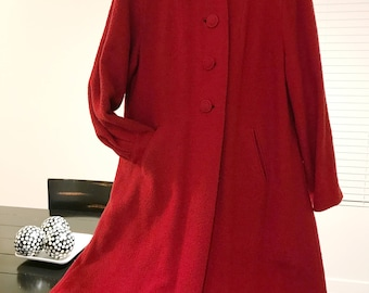 Beautiful Vintage 60's Red Wool Coat Trapeze Style