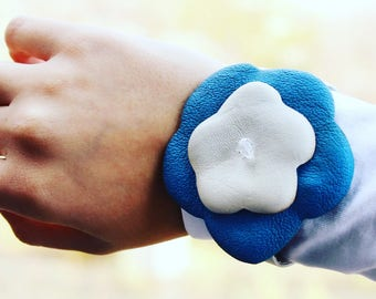 Gift for her. Leather bracelet ,leather flowers.  gift, Gift Easter for women