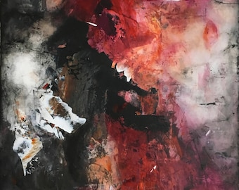 """Acrylic abstract paining, """"Fire on the Mountain"""""""