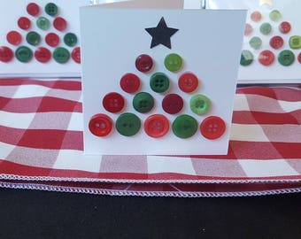 Pack of 4 Button Christmas Tree Cards