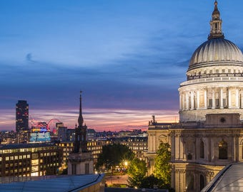 Sunset at St Paul's Cathedral, London