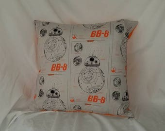 BB-8 with orange back accent- throw pillow cover, sci fi, Star Wars Pillow, nerd gift, geek gift, droid, Sci Fi home decor, nursery gift