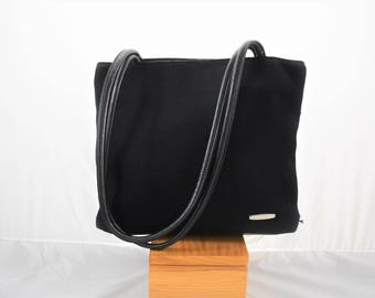 Vintage Black Nine West Shoulder Bag / Purse Soft Leather and Woven Fabric