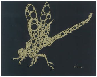 Golden Dragonfly Print