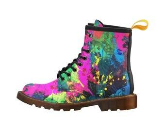 Paint Splatter PU Leather Martin Boots For Men