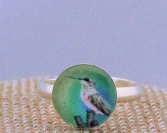 Hummingbird Cameo Ring