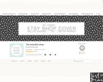 Black Etsy Shop Cover with white snow, polka dots. DIY cover and icon. Simple blog, shop, social media cover, icon kit.