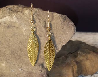 Small Gold Feather Dangle Earrings Lightweight