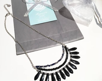 Unique black bib necklace