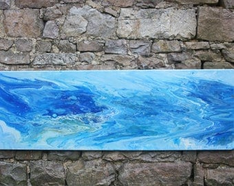 Acrylic,Abstract,Orignal, unique ,large,fluid art,painting. The Blue Whale or Dolphin