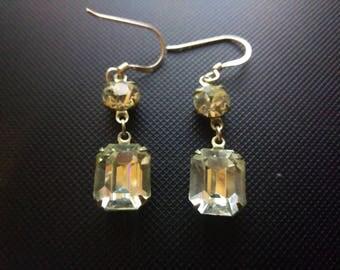 Rhinestone Dangle Chandelier Earrings Vintage with Silver 925 hooks