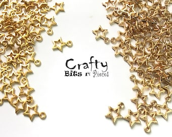 10 pcs Gold/KC Gold Plated 12mm Star Open Back Charm Pendant