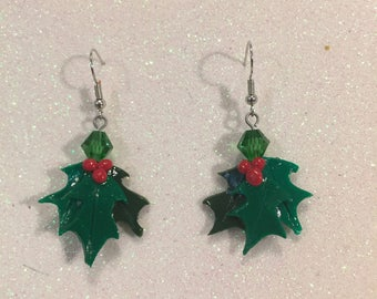Holly Leaf Earrings with Green Crystal