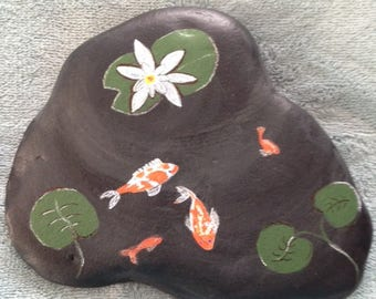 Koi Fish Pond on Hand Painted River Rock