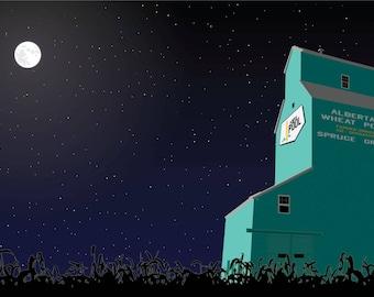 Grain elevator by moonlight
