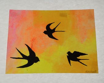 Swallows, gift idea, summer, painting, birds, freedom, creativity, 33 x 48, acrylic, painting, fluorescent, yellow, tattoo, handmade