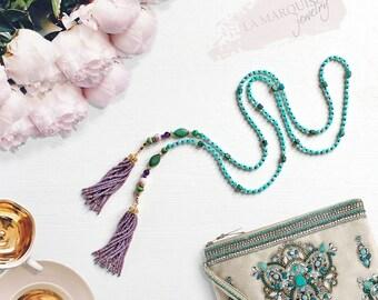 Boho tassel necklace, Extra Long Necklace, Beading, Tassel Necklaces , Amazonite, Chrysocolla