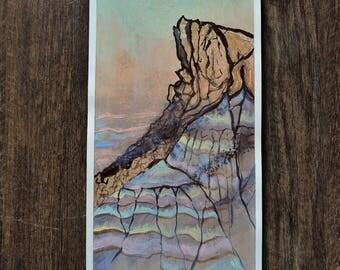 """Small Original Mixed Media Artwork On Paper - American Southwest Desert Landscape -""""January's Painted Desert 2"""""""