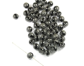 Lot 50 8 mm synthetic black points beads silver