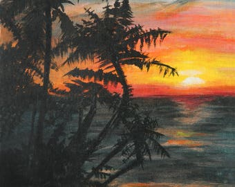 Sunset Over the Ocean, Print of Original Acrylic Painting (16x20, 11x14)