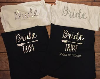 Bride tribe tank, bride crew tank, maid of honor tank, bride to be, bachelorette party top, engagement tank, wedding tank, i do