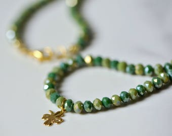 Green teal gold crystal lucky clover necklace, crystal beads 4 leaf clover necklace