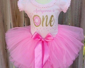 Donut Custom First Second Birthday Tutu Outfit Free Personalization