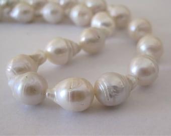 10-11 x 13-14mm Full Strand Natural White Teardrop Baroque Beads, White Baroque Pearl Beads, White Teardrop Baroque Pearl Beads (BQWH-092)