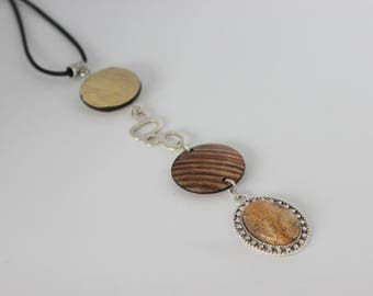 Vertical original metal, acrylic Brown, beige and silver necklace with cabochon.