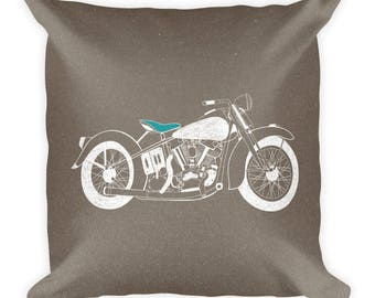 Retro Motorcycle Square Pillow
