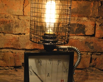Nightstand Lamp - Upcycled Industrial Vintage 1970s Ammeter, metal lampshade, edison retro lamp, reading lamp, upcycled lamp, ussr lamp