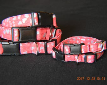Handmade Adjustable Glittery Valentine Heart Dog Collars with Plastic Buckles XS S M L XL