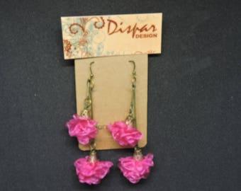 Fuchsia Flower Earrings  spanish style birthday gift girlfriend  women jewelry elegant earrings long earrings handmade accessories